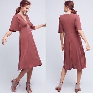 Anthropologie | Eri + Ali Eliza Deep V Midi Dress